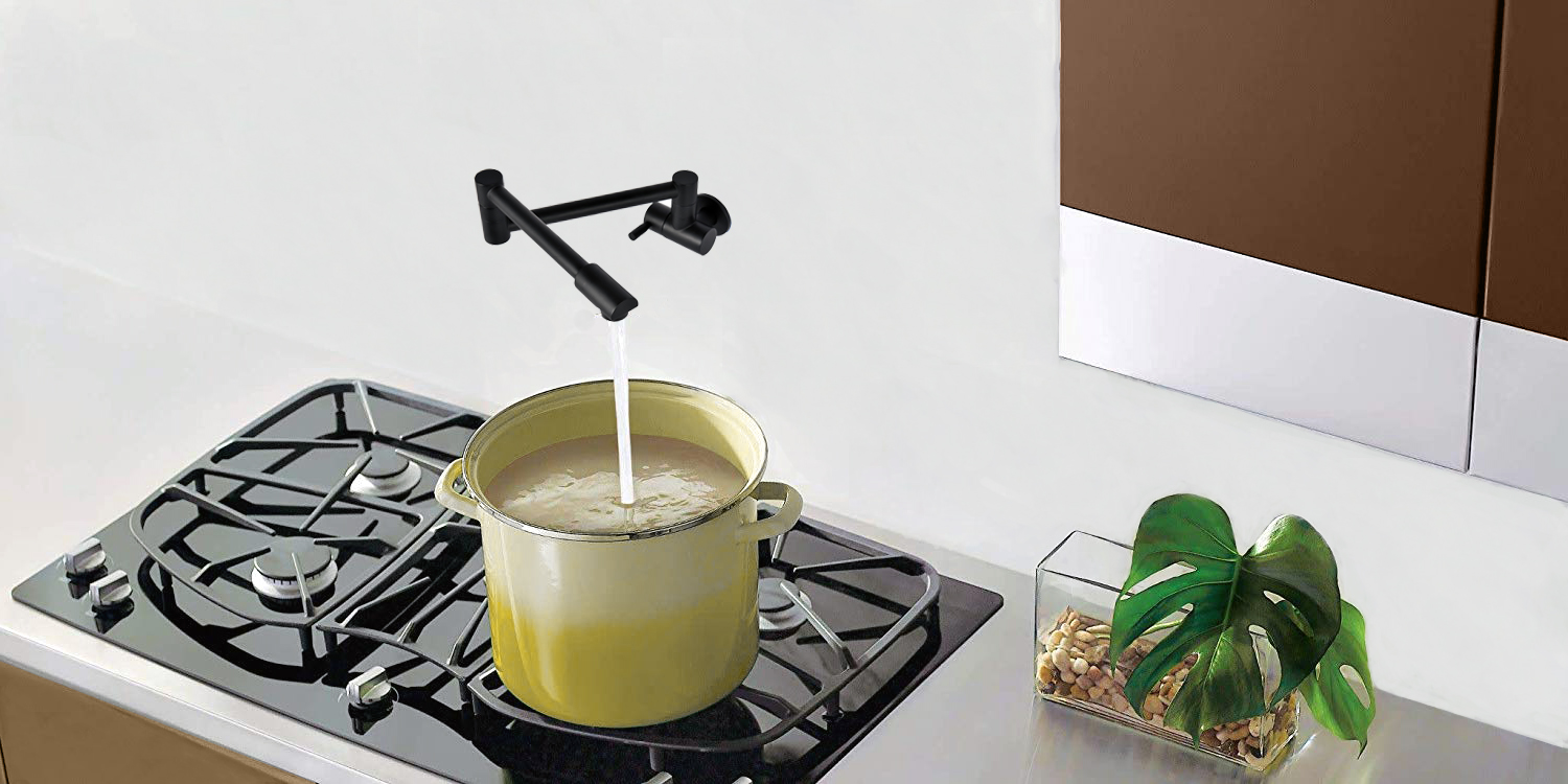 Solid Brass Commercial Black Single Hole Wall Mount Pot Filler Faucet Floding Kitchen Faucet With Double